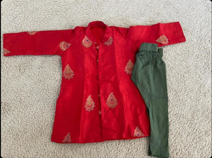 Picture of 1 year Baby Boy - Red Pure silk Kurtha set