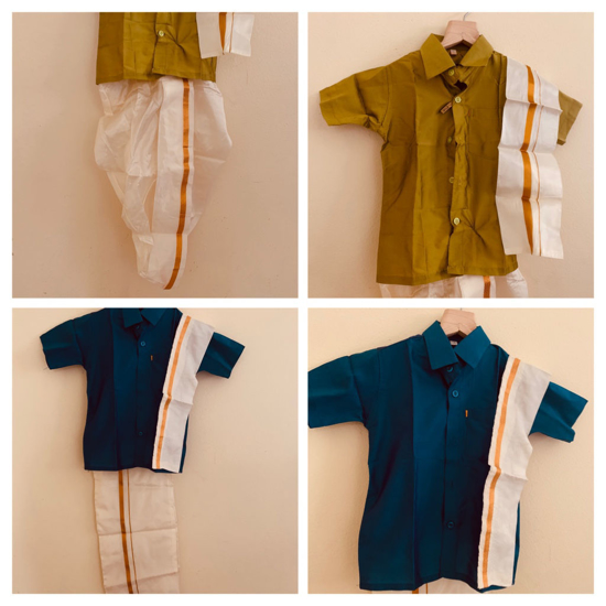 Picture of Toddler boy pattu lungi and dhothi - combo sets