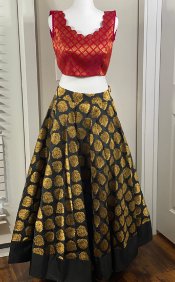 Picture of Brand New Black Banaras Skirt with Complemented Red Crop top