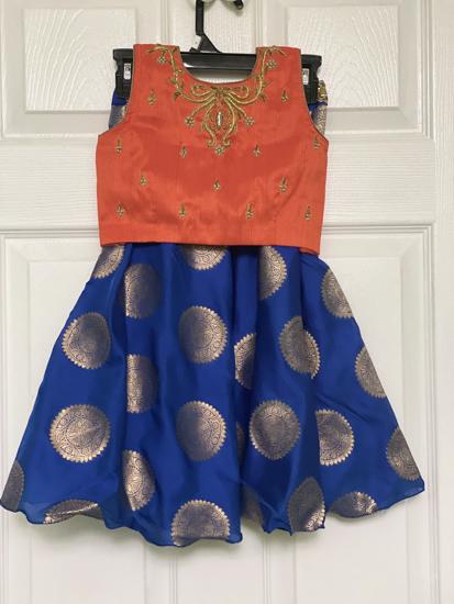 Picture of Beautiful Orange and Blue Lehenga 4-5y