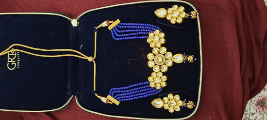 Picture of Lovely Blue Crystals and Kundan Choker with Matching Earrings