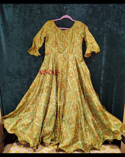 Picture of Brand New Kolam Lime Green Long Gown