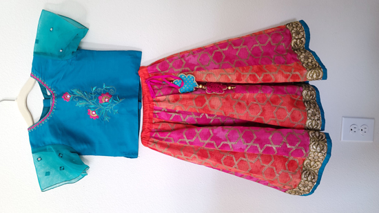 Picture of Pink/Blue Lehenga 2-3 Yrs