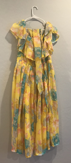 Picture of Yellow Floral mid length gown