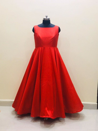 Picture of Red Pure RawSilk Long Frock