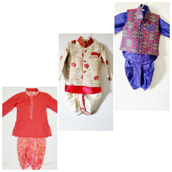 Picture of 3 Toddler boy kurta sets, 6 months to 1.5 years