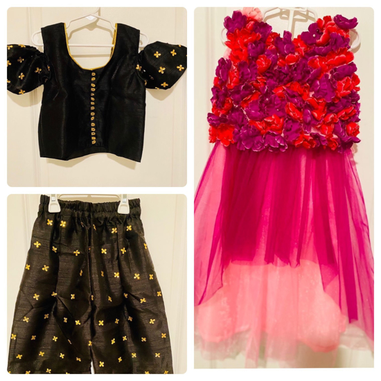 Picture of Brand New Black cold shoulder Top and Plazo Set and  Skirt Top Set