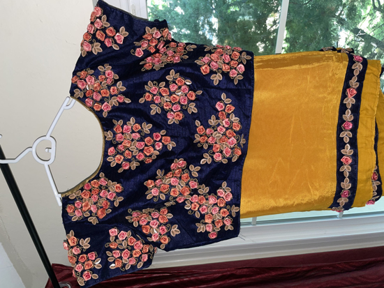 Picture of Mustard Yellow Saree with Blue blouse