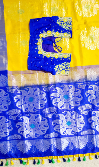 Picture of Pure uppada pattu saree with heavy maggam work blouse