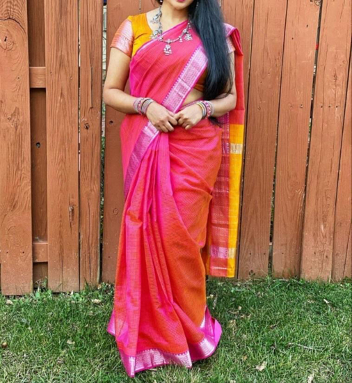 Picture of Shop The Look- Mangalagiri Cotton Saree with German silver set