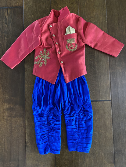 Picture of Red and blue Kurta pajama - 1 year old