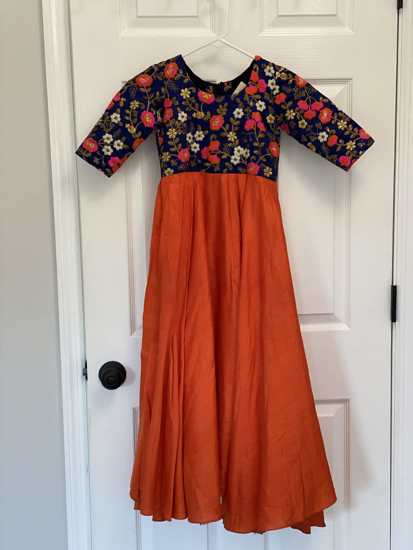 Picture of Beautiful orange and royal blue long frock