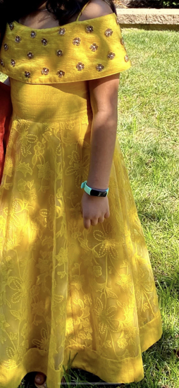 Picture of Beautiful Yellow long length frock
