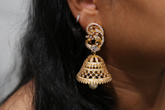 Picture of Beautiful brand new Ad stones very good quality jhumkas