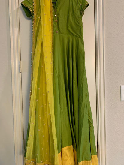 Picture of Green Raw silk dress