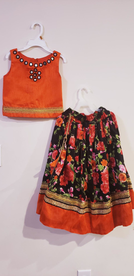 Picture of Beautiful Orange Floral lehenga and mirror work top