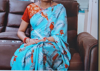Picture of Blue colour saree with bird print (36)