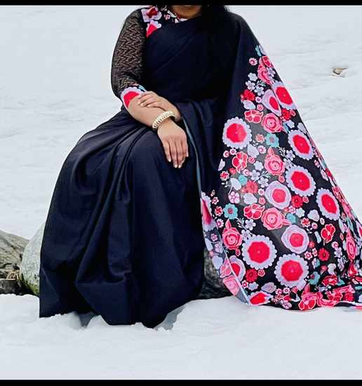 Picture of Black satin georgette saree with floral pallo