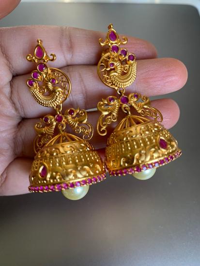 Picture of Ethnic earings /Pink Kundan Jhumkas(Gold Finish)