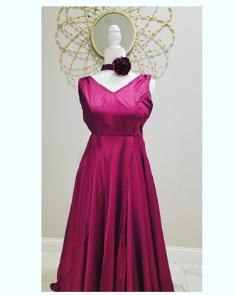 Picture of Satin long frock along with neck tie out