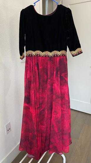 Picture of Wine Georgette Maxi with Black Velvet Yoke