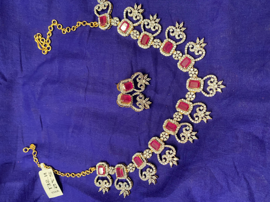 Picture of Daimond Finish Necklace Set with Earrings