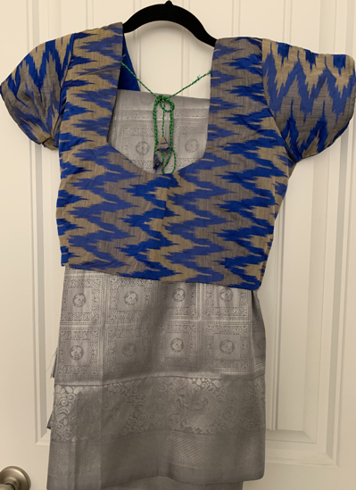 Picture of Blue Ikkat blouse & silver saree