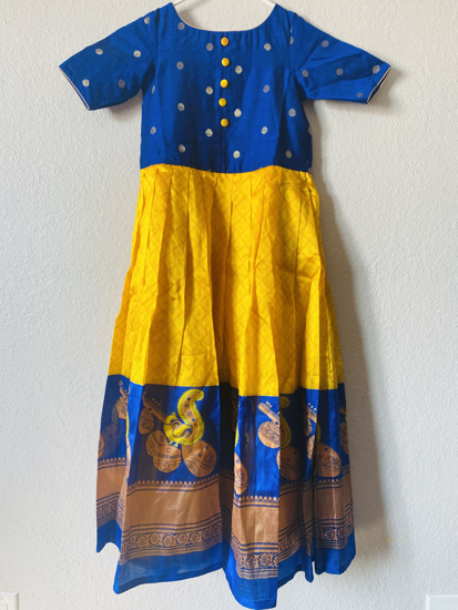 Picture of Yellow and Blue designer dress 5-7 years