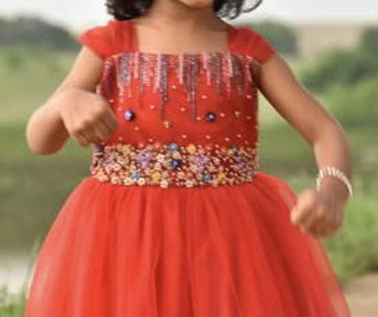 Picture of Red Tulle Frock with handwork 2t-3tyears