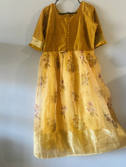Picture of New Sandal Yellow floral organza long dress