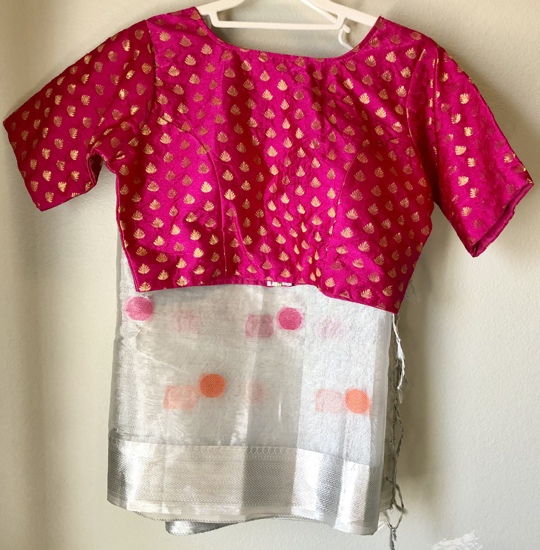 Picture of Beautiful Silver tissue saree with pink blouse