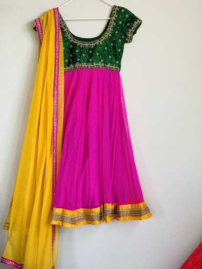 Picture of Beautiful long gown with maggam work..