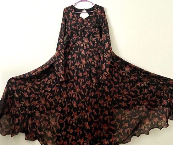 Picture of Black Floral Long Dress