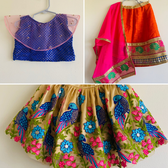 Picture of Set of 2 lehengas (1-2 yr ) with same blouse
