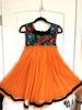 Picture of Bright Orange & Black color Thread embroidery Dress