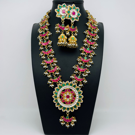 Picture of Real Premium quality Pachi Kundan Long Necklace Set