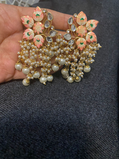 Picture of Meenakari Kundan Hand Painted Pearl Earrings