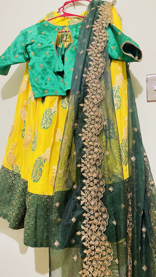 Picture of Brand new designer organza lehenga with can can