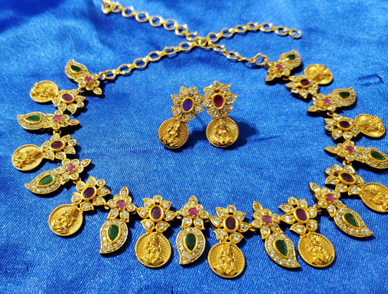 Picture of Manga with Lakshmi coin neckpiece for kids
