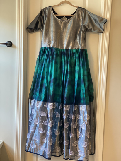 Picture of Brand New Silver and a peacock green Long dress