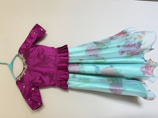 Picture of Floral organza Lehanga with Crop Top (6-8 yrs)