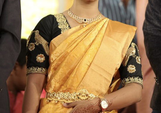 Picture of Pure Soft silk Saree with complete Handwork Blouse