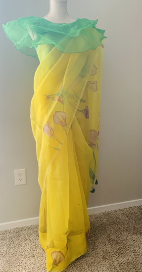 Picture of New organza saree paired with layers pattern blouse
