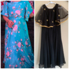 Picture of Long floral Dress and georgette gown with soft net cape