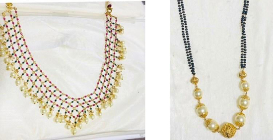 Picture of Combo of Pink-Green-White Pearls Necklace & Black Beads Chain