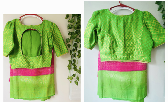 Picture of pink & parrot green color soft slik pattu saree