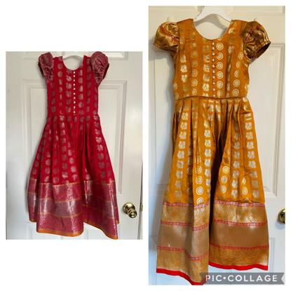 Picture of Yellow and Red soft silk kids dress with big borders