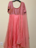 Picture of Beautiful pink organza long dress with maggam work on yolk and paired with dupatta
