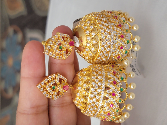 Picture of Traditional CZ Gold Plated Jhumkas
