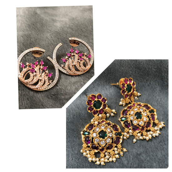 Picture of Earrings combo-  Ruby studs / Ruby Emerald hanging earrings